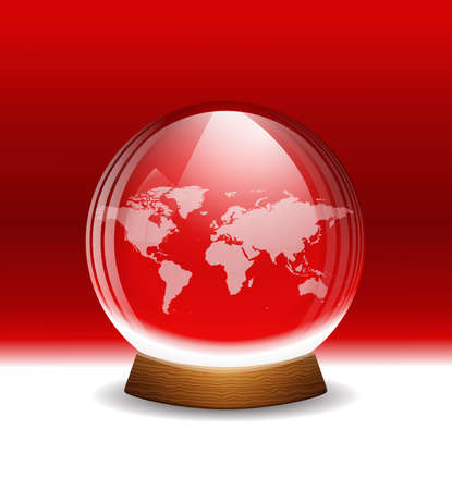 Vector transparent snow globe with map Vector