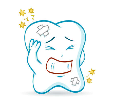 An illustration of a cartoon tooth, which has a toothache  Vector