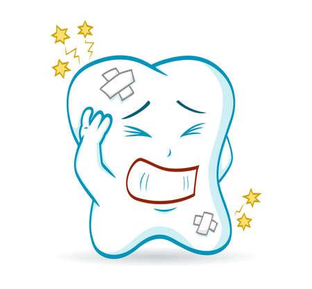dolor de muelas: Una ilustración de un diente de la historieta, que tiene un dolor de muelas Vectores