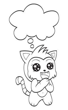 Cute cat with speech bubble Illustration