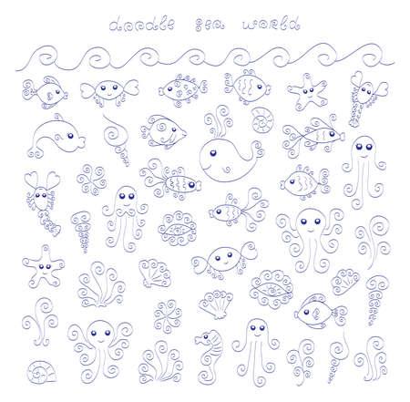 Doodle sea world Vector