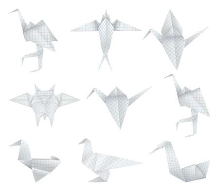 egret: Origami birds set Illustration