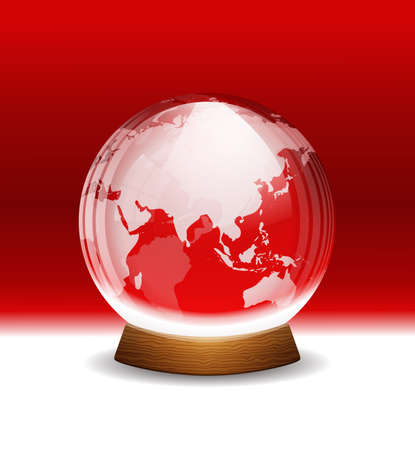 christmas snow globe: Vector transparent snow globe with map Illustration
