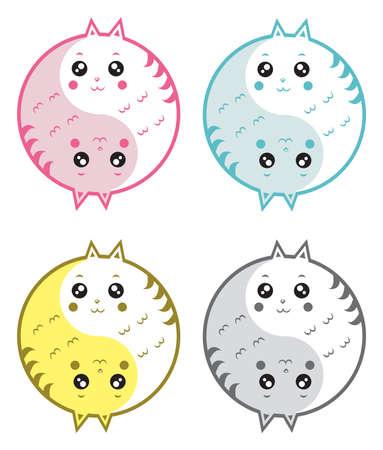 yinyang: Mignon chats yin yang Illustration
