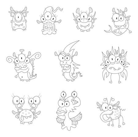 Cartoon monsters, goblins, ghosts Vector