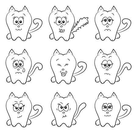 Cute cats emotions Vector