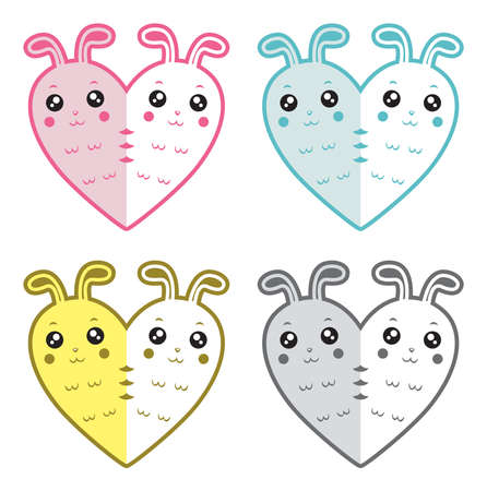 Cute rabbits-hearts Vector