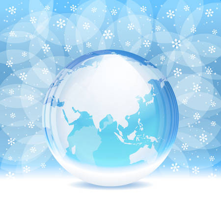 snow crystal: Vector transparent snow globe with map Illustration