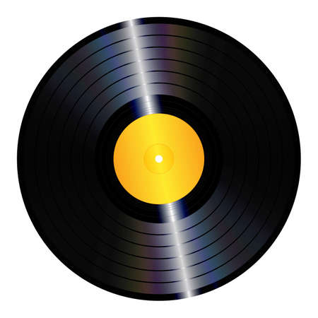 An illustration of an isolated lp vinyl record  Vector