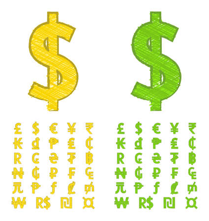currency symbols: Doodle currency symbols of the world Illustration