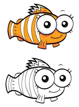 Cartoon poisson clown Vecteurs