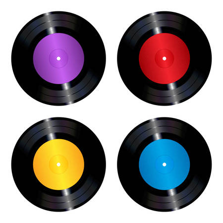 The collection of four colorful vinyl records