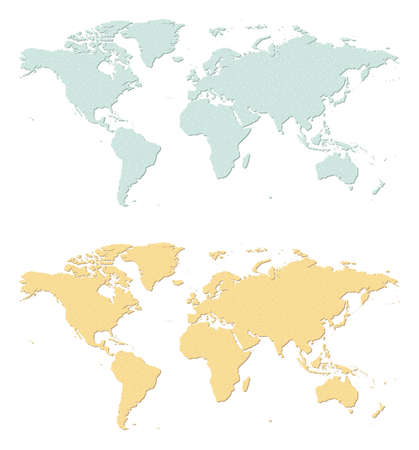 greenness: An illustration of two sandpaper earth maps  Illustration