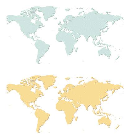 sandpaper: An illustration of two sandpaper earth maps  Illustration