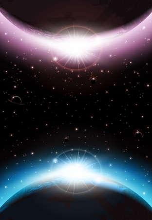 惑星、スカイと星層状の宇宙背景  イラスト・ベクター素材