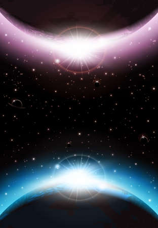 heaven and earth: An outer space background with planets, sky and stars  Layered