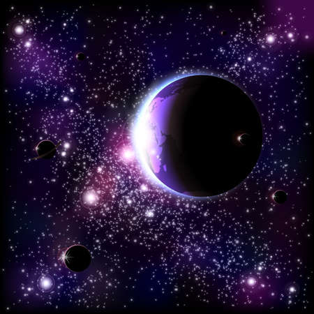 heaven on earth: An outer space background with planets, sky and stars  Layered