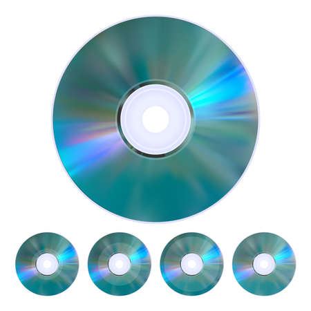 cd r: The collection of five realistic cd, dvd disks