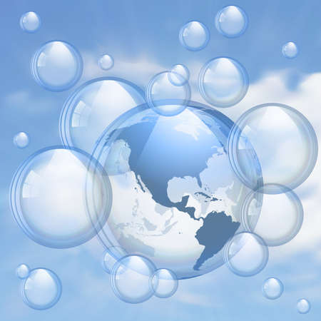 heaven on earth: Sky and bubbles background