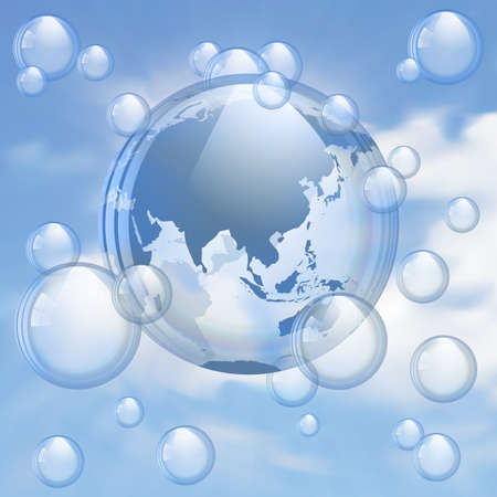 floating island: Sky and bubbles background
