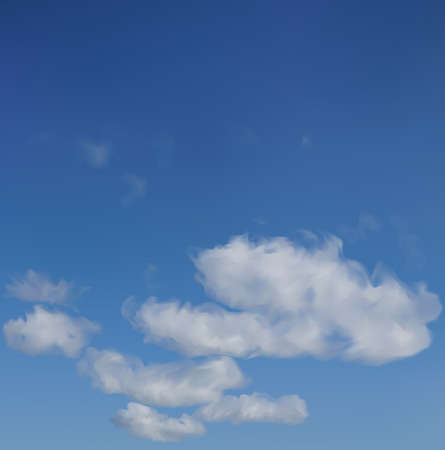 cumulus cloud: An illustration of the blue sky background.