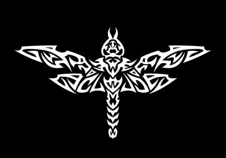 tribalism: A tattoo with abstract flaming dragonfly on the black background. Illustration
