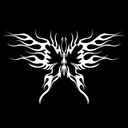 tribalism: A tattoo with abstract flaming butterfly on the black background.