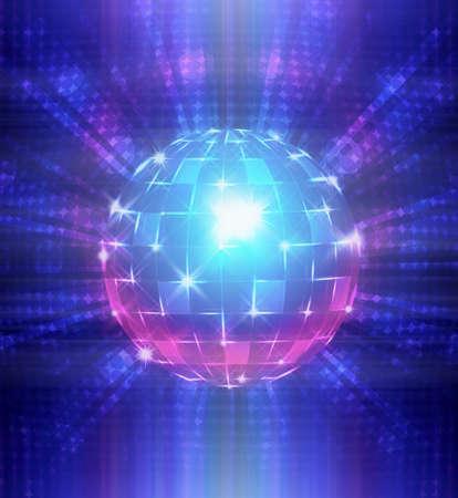 glitter ball: An illustration of a disco ball.