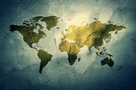 grimy: An illustration of a grunge earth map.