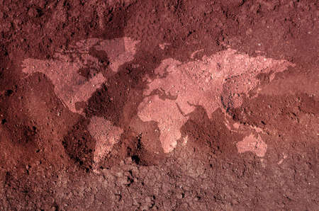 parched: An illustration of a soil earth map. An ecological concept of drought.
