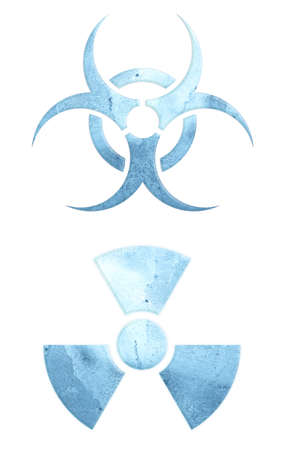 Two warning symbols, made of the ice. Archivio Fotografico