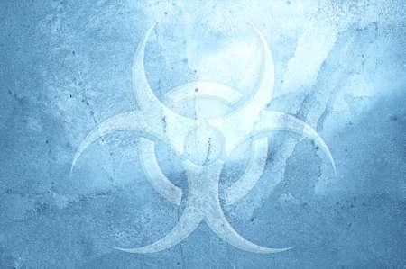 biohazard symbol: A biohazard symbol on an ice background.