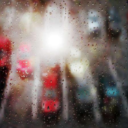 drizzling rain: Raindrops on the window Illustration