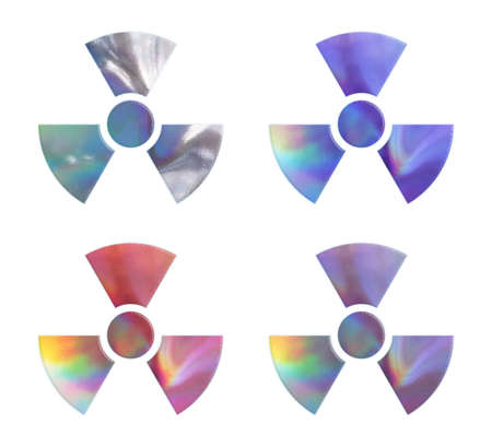 irradiation: The collection of holographic radiation warning symbols. Stock Photo