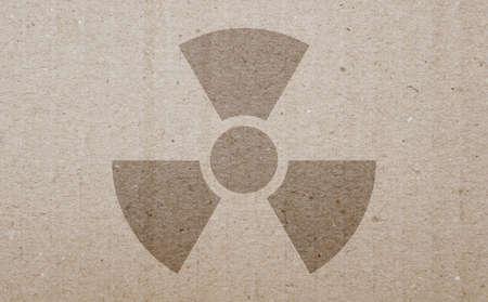 irradiation: A radiation warning symbol on a carton background. Stock Photo