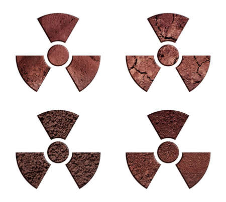 irradiation: The collection of radiation warning symbols, made of soil.