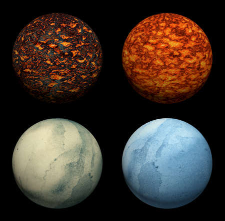 lifeless: The collection of different colorful planets on the black background.
