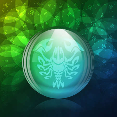 luminescent: A vector illustration of a transparent luminescent snow globe with a zodiac sign Cancer.