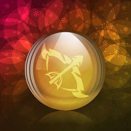 luminescent: A vector illustration of a transparent luminescent snow globe with a zodiac sign Sagittarius.