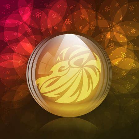 signes du zodiaque: Une illustration de vecteur d'un transparent globe luminescent de neige avec un signe de zodiaque Leo.