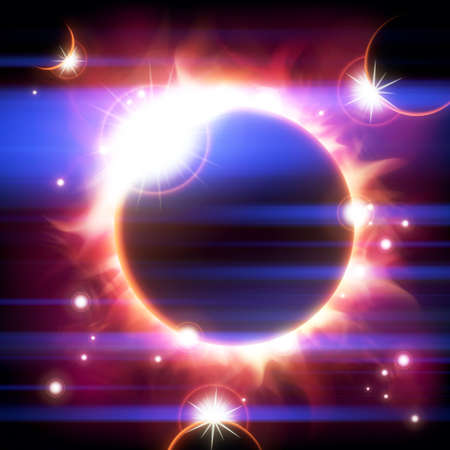 copy space: An outer space background with an eclipse, planets and stars.