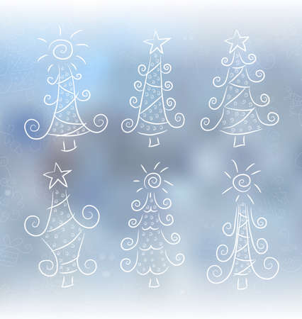 frozen water: Doodle Christmas trees Illustration
