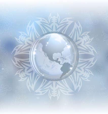 snow globe: Snow globe with map Illustration