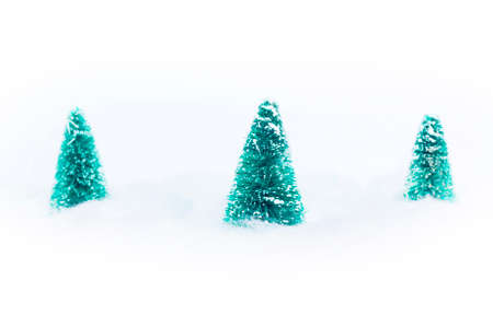 cottonwool: Tree christmas trees in the fake snow