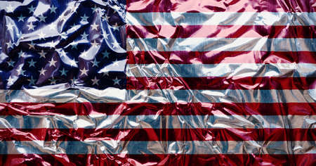 red flag up: american flag Stock Photo