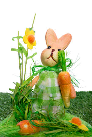 grass plot: Easter background with a rabbit