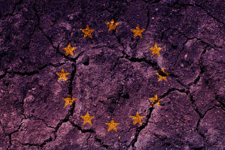 parched: An European flag raster illustration (background, texture).