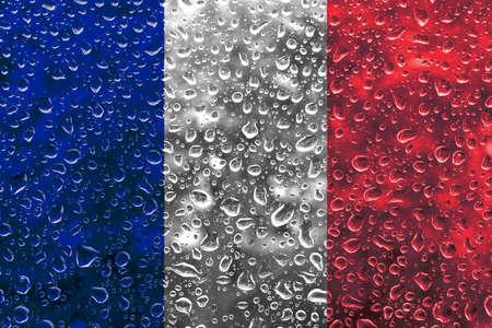 drizzling rain: French flag illustration Stock Photo