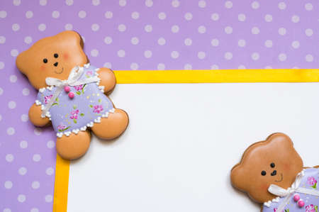 white polka dots: Polka-dot background with honey-cake bears Stock Photo