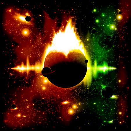 radio beams: Retro space background
